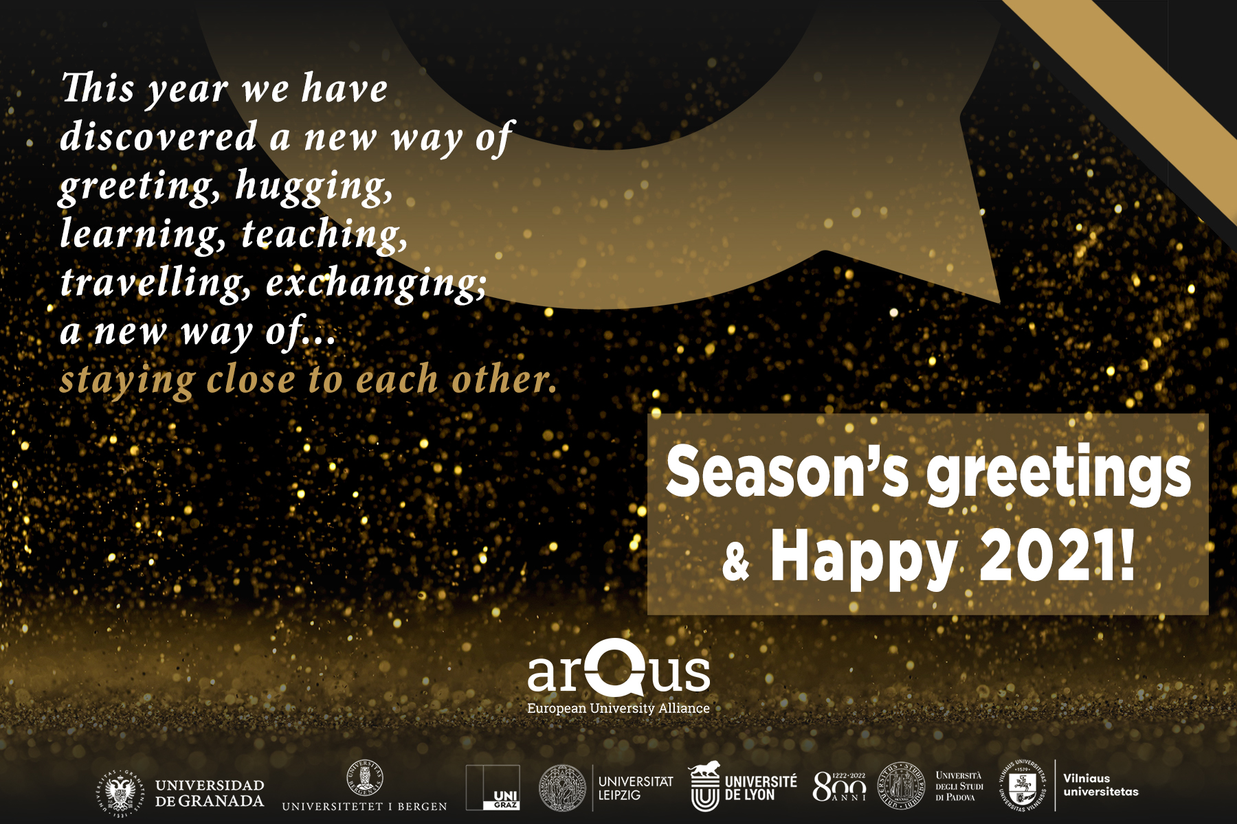 Festive season card with sparks and the Arqus brown