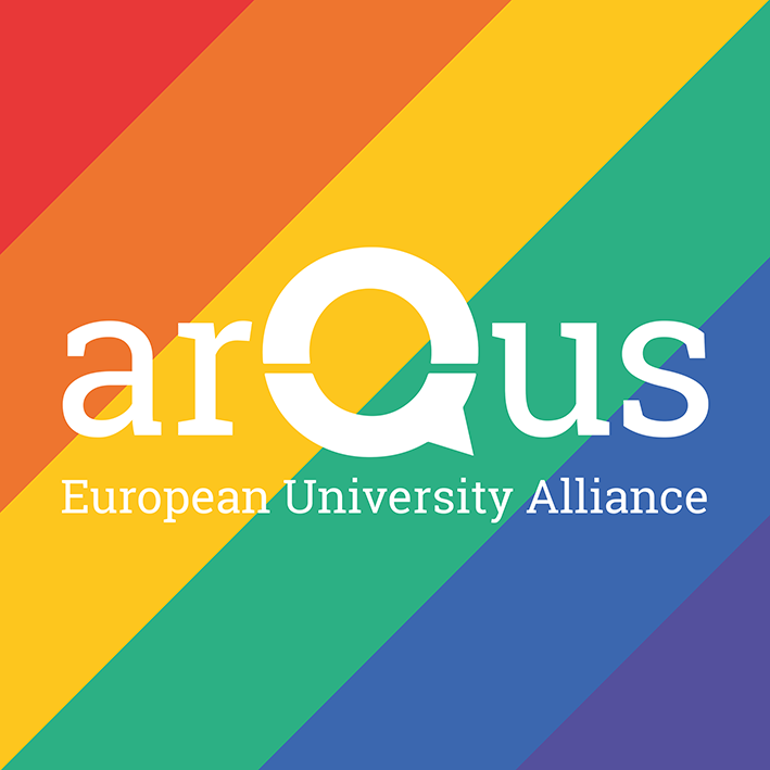 Arqus logo with the background of the rainbow colors