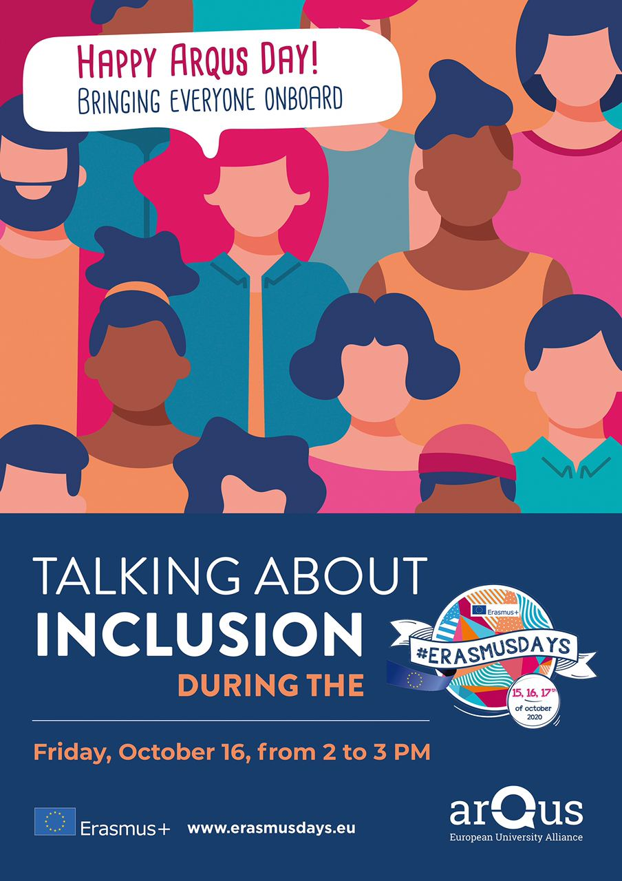 Poster with the title Talking about inclusion during the #ErasmusDays2020
