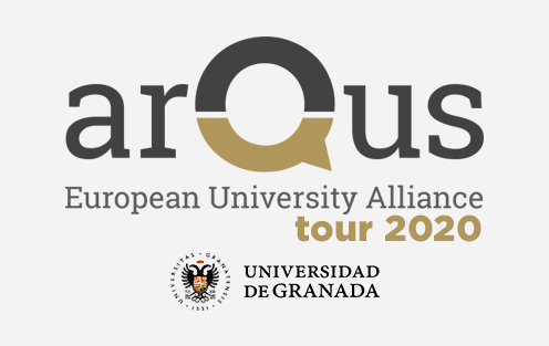 "Logo of Arqus and logo of University of Granada, plus the words ""tour 2020"""